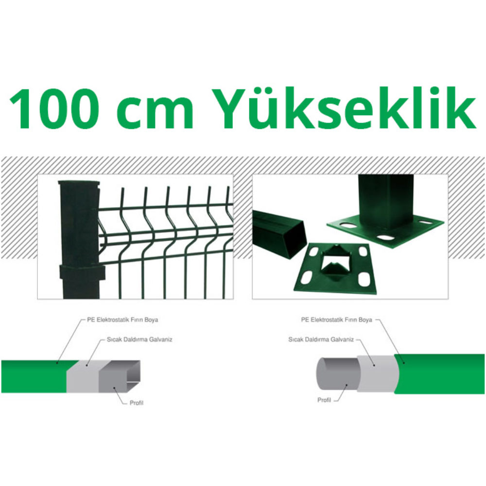 100cm-Yeşil-5cm-x-5cm-x-1cm-Çit-Profil-Demiri