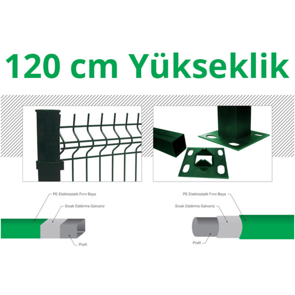 120cm-Yeşil-5cm-x-5cm-x-1cm-Çit-Profil-Demiri